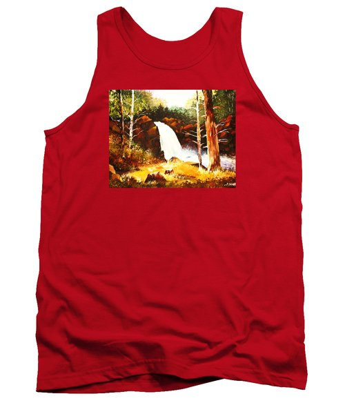 Tank Top featuring the painting A Spout In The Forest Ll by Al Brown