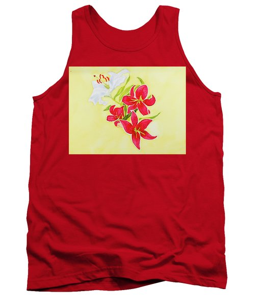 Tank Top featuring the painting A Study Of Lilies by Dorothy Darden