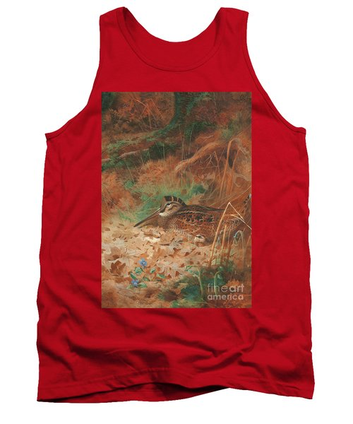 A Woodcock And Chick In Undergrowth Tank Top by Archibald Thorburn