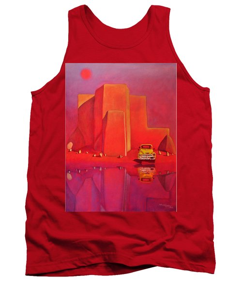 Tank Top featuring the painting A Yellow Truck With A Red Moon In Ranchos by Art West