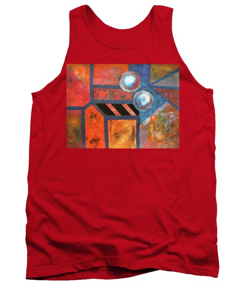 Tank Top featuring the mixed media Abstract Autumn by Riana Van Staden