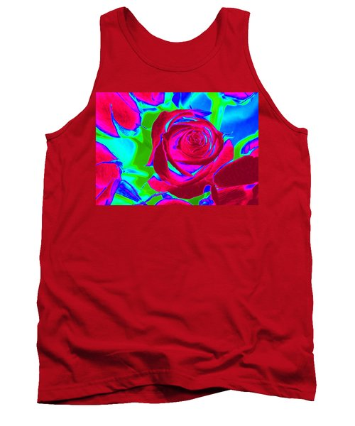Burgundy Rose Abstract Tank Top