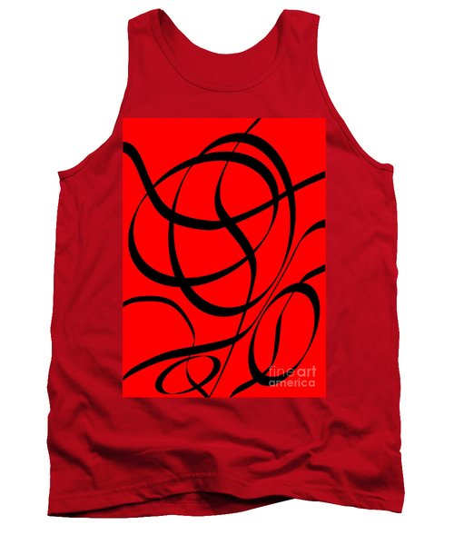 Abstract Design In Red And Black Tank Top