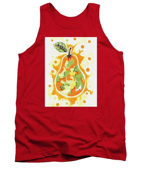 Tank Top featuring the painting Abstract Pear by Kathleen Sartoris
