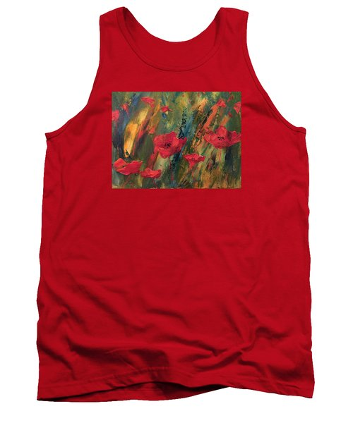Abstract Poppies Tank Top by Kristine Bogdanovich