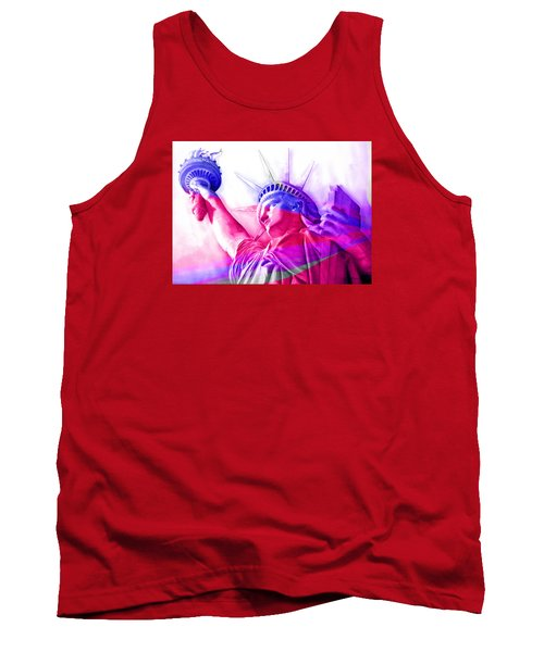 Tank Top featuring the painting Abstract Statue Of Liberty 7 by J- J- Espinoza