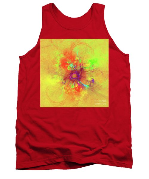 Tank Top featuring the digital art Abstract With Yellow by Deborah Benoit