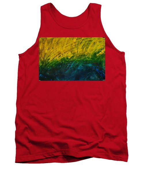 Abstract Yellow, Green With Dark Blue.   Tank Top
