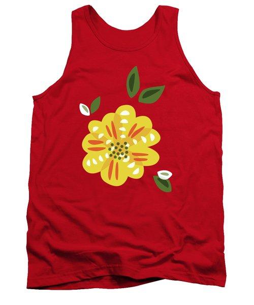 Abstract Yellow Primrose Flower Tank Top