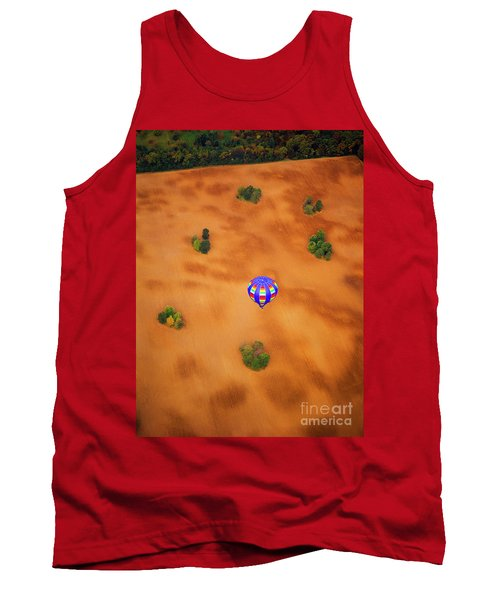 Aerial Of Hot Air Balloon Above Tilled Field Fall Tank Top