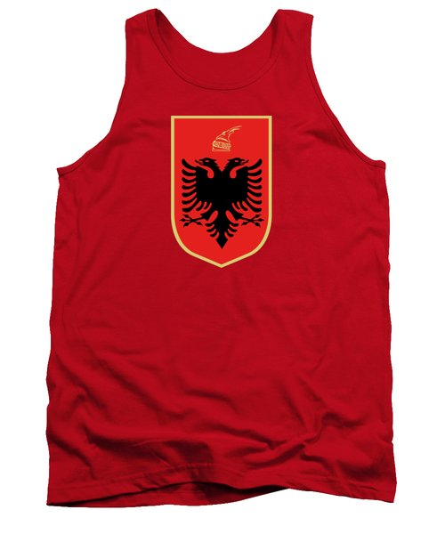 Tank Top featuring the drawing Albania Coat Of Arms by Movie Poster Prints