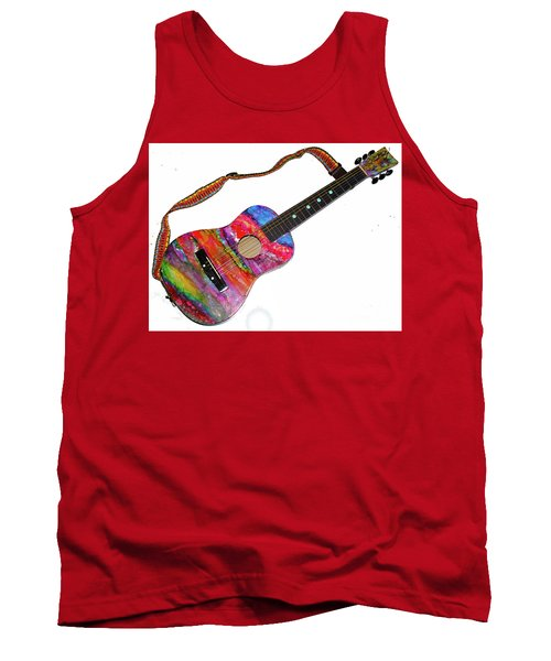 Alcohol Ink Guitar Tank Top by Alene Sirott-Cope