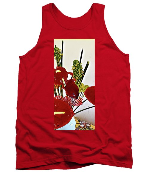 Aloha Bouquet Of The Day - Anthuriums In Darkl Red With Green Ginger - A Portion Tank Top