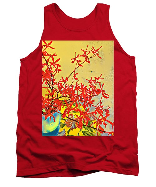 Aloha Bouquet Of The Day -- Red Orchids In Blue Vse Tank Top