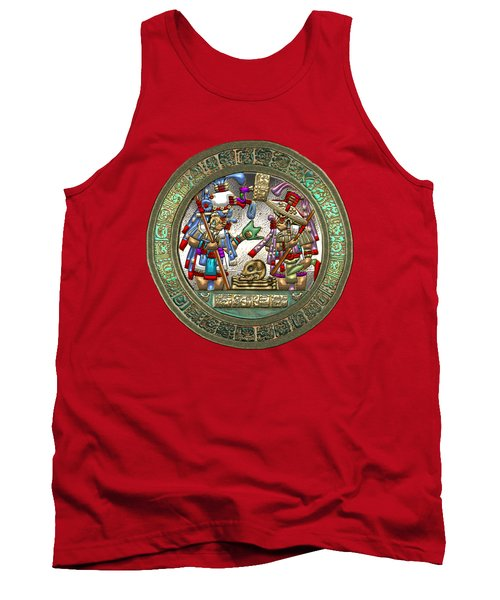 Altar 5 From Tikal - Mayan Nobles Performing A Ritual - On Black And Red Leather  Tank Top