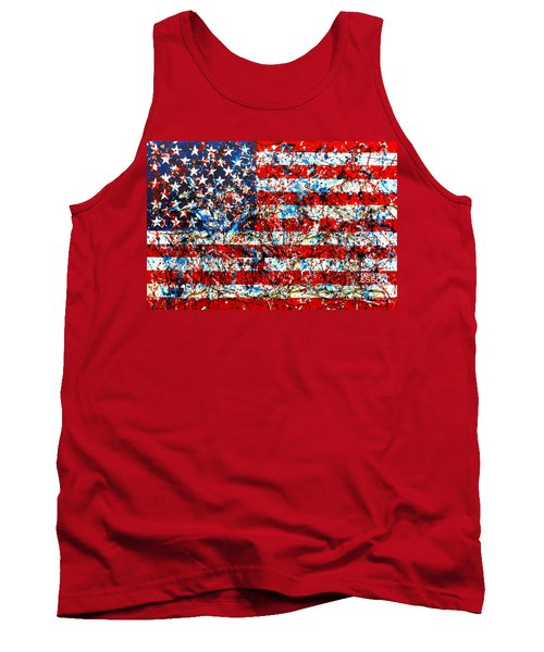 Tank Top featuring the painting American Flag Abstract With Trees by Genevieve Esson