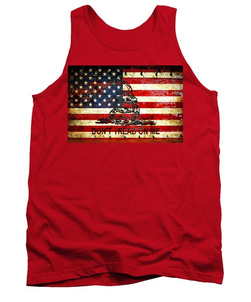 American Flag And Viper On Rusted Metal Door - Don't Tread On Me Tank Top by M L C