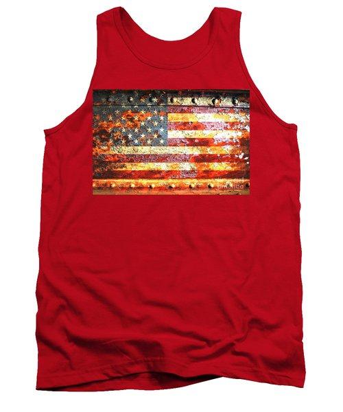American Flag On Rusted Riveted Metal Door Tank Top by M L C