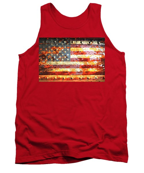 American Flag On Rusted Riveted Metal Door Tank Top