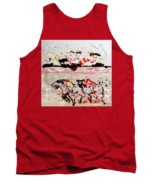 Tank Top featuring the mixed media And Down The Stretch They Come by J R Seymour