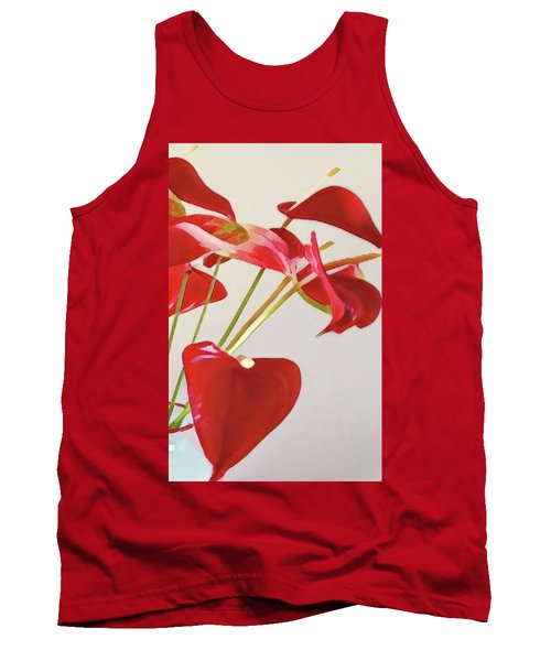 Anthurium Fragments In Red Tank Top