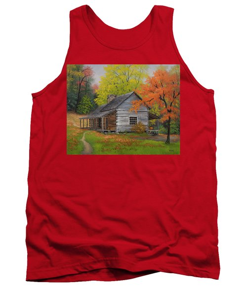 Tank Top featuring the painting Appalachian Retreat-autumn by Kyle Wood