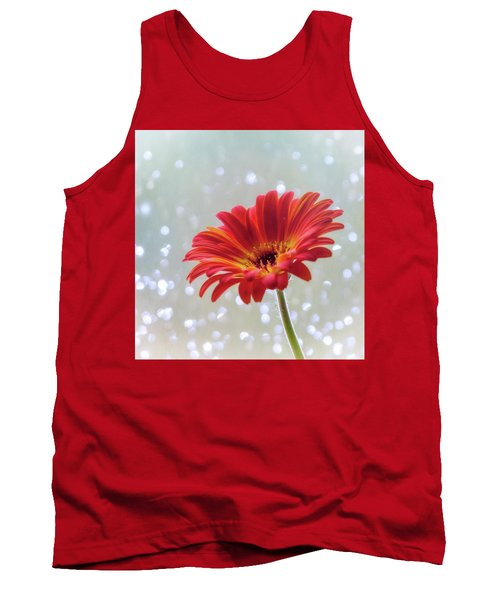 Tank Top featuring the photograph April Showers Gerbera Daisy Square by Terry DeLuco