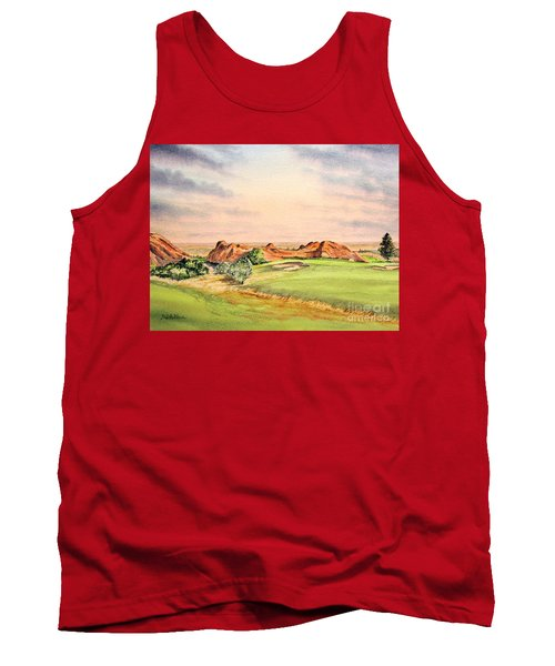 Tank Top featuring the painting Arrowhead Golf Course Colorado Hole 3 by Bill Holkham