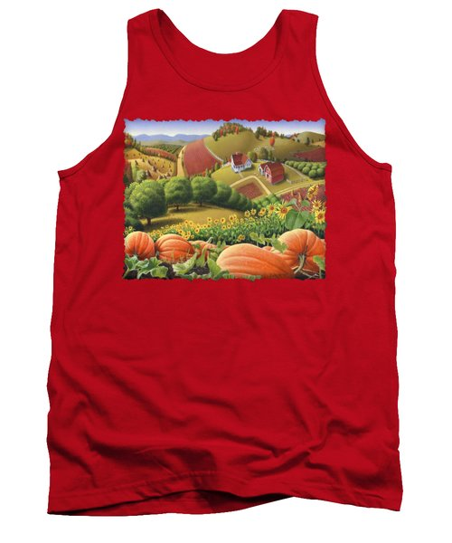 Farm Landscape - Autumn Rural Country Pumpkins Folk Art - Appalachian Americana - Fall Pumpkin Patch Tank Top