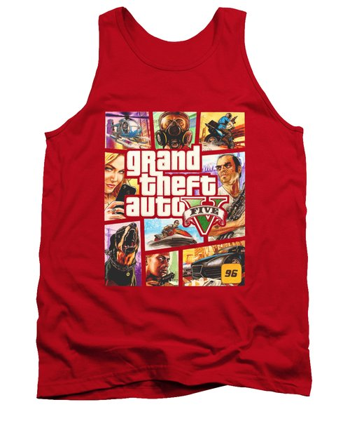 Gta V Box Art Cover Colored Drawing Tank Top