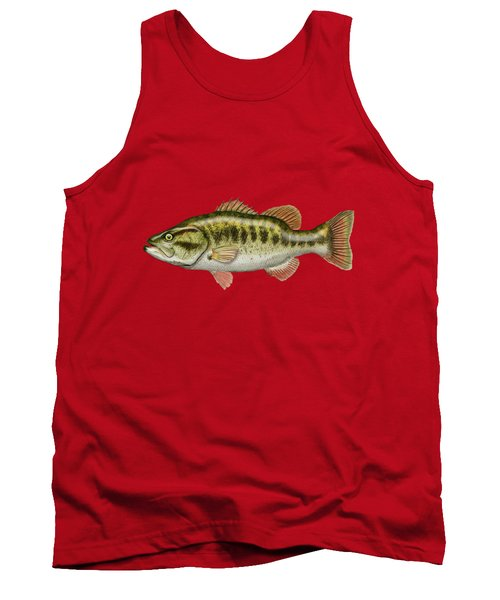 Largemouth Bass On Red Leather Tank Top by Serge Averbukh