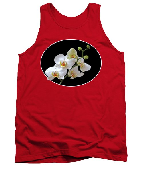 Orchids On Black And Red Tank Top by Gill Billington
