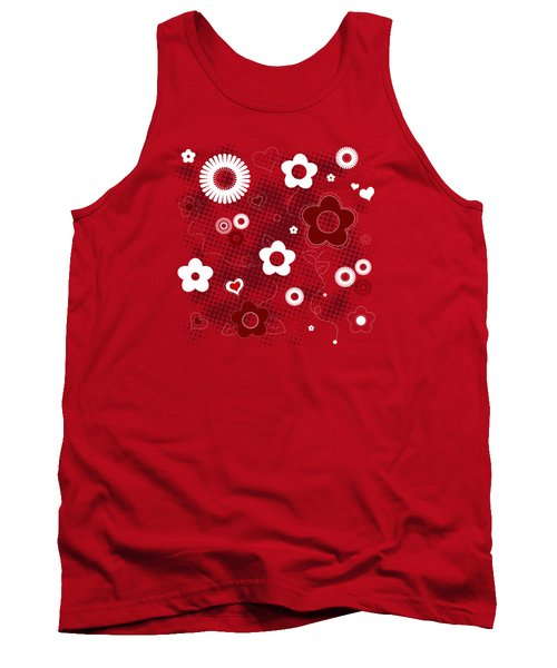Floral And Hearts Valentine Pattern Tank Top