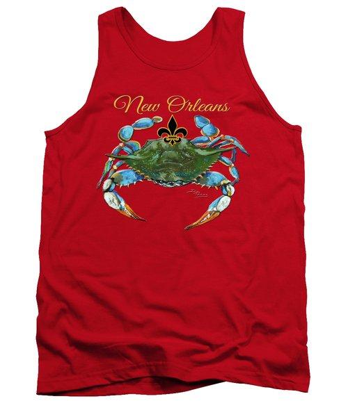 Louisiana Blue On Red Tank Top