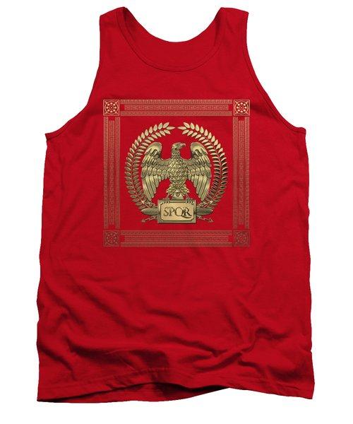Roman Empire - Gold Imperial Eagle Over Red Velvet Tank Top