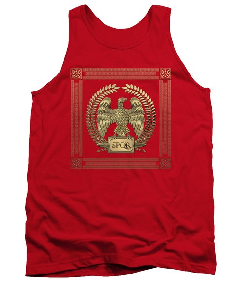 Roman Empire - Gold Imperial Eagle Over Red Velvet Tank Top