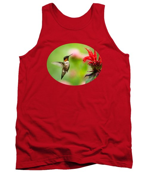 Male Ruby-throated Hummingbird Hovering Near Flowers Tank Top by Christina Rollo