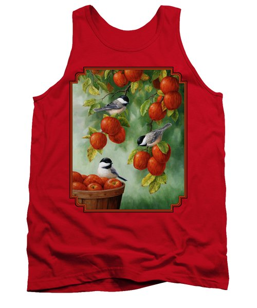 Bird Painting - Apple Harvest Chickadees Tank Top by Crista Forest