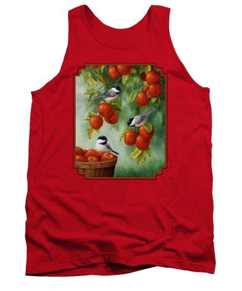 Bird Painting - Apple Harvest Chickadees Tank Top