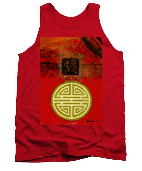 Tank Top featuring the painting Asian Red Encaustic by Bellesouth Studio