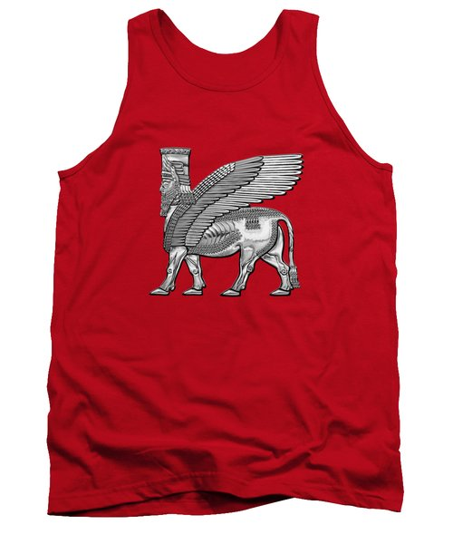 Assyrian Winged Bull - Silver Lamassu Over Red Canvas Tank Top