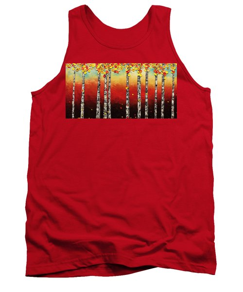 Tank Top featuring the painting Autumn Birch Trees by Carmen Guedez
