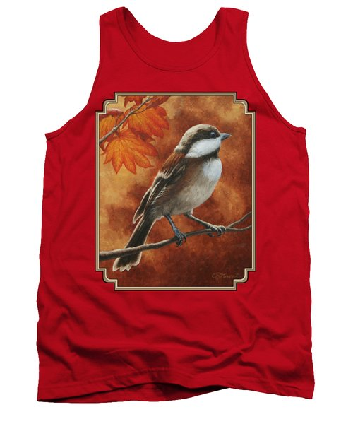 Autumn Chickadee Tank Top by Crista Forest