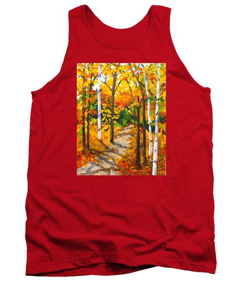 Autumn Forest Trail Tank Top by Diane Arlitt
