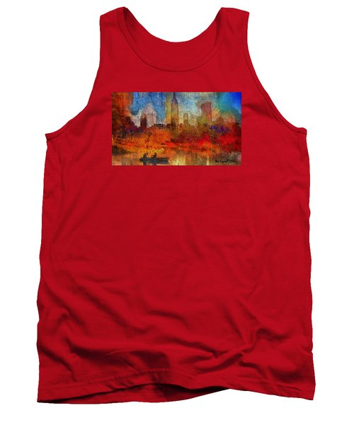 Tank Top featuring the painting Autumn In New York by Ted Azriel