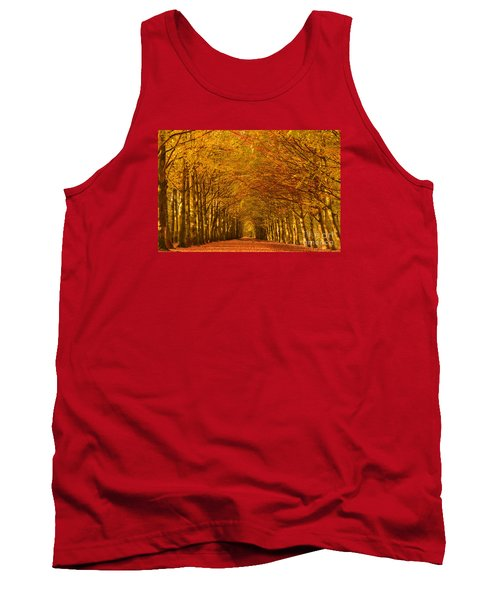 Autumn Lane In An Orange Forest Tank Top by IPics Photography