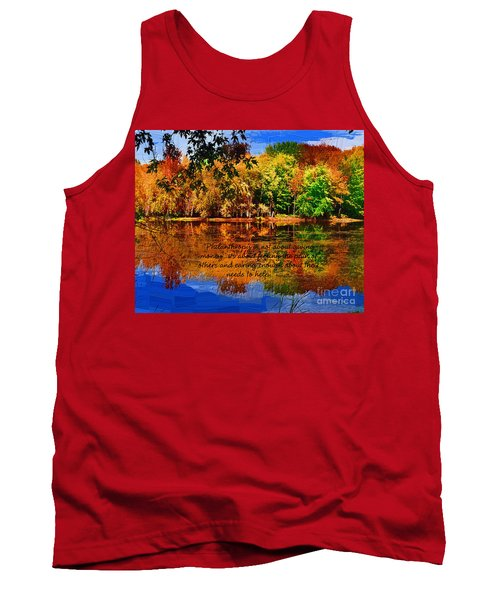 Tank Top featuring the painting Autumn Serenity Philanthropy Painted by Diane E Berry