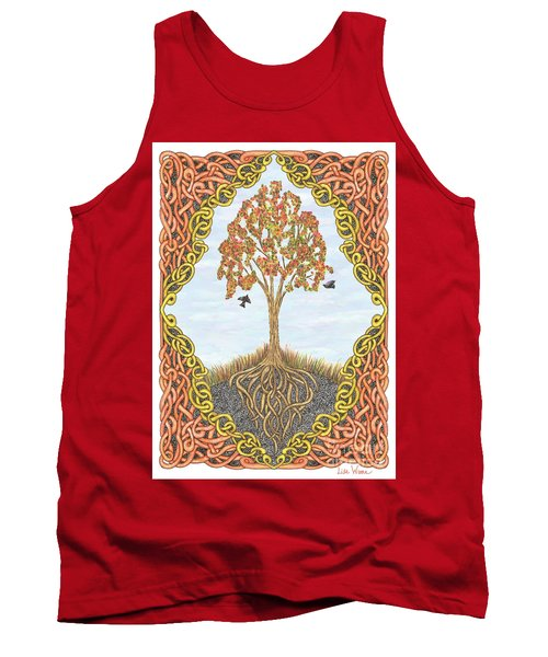 Autumn Tree With Knotted Roots And Knotted Border Tank Top