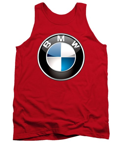 B M W Badge On Red  Tank Top