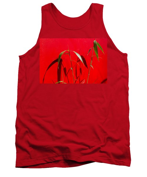 Bamboo Against Red Wall Tank Top